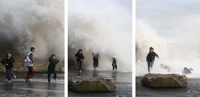 Balintore harbour waves triptych